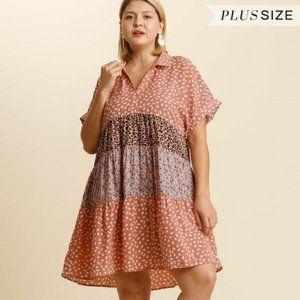 RESTOCKED Umgee Plus Salmon Mix Print Boho Dress